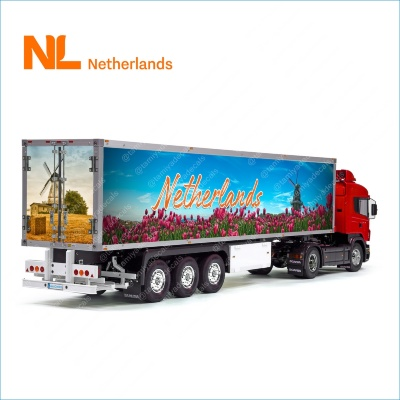The Netherlands Tulips NL Holland Tamiya 56319 56302 Reefer Semi Box Trailer Side Huge Decals Stickers Set