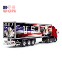 USA Patriotic Flag Tamiya 56319 56302 Eagle Reefer Semi Box Trailer Side Huge Decals Stickers Kit