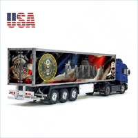 USA Army PATTON Patriotic Flag Freedom Eagle Tamiya 56319 56302 Reefer Semi Box Trailer Side Huge Decals Stickers Set